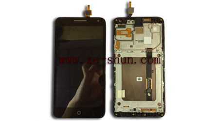 Black Cell Phone LCD Screen Replacement for Alcatel One